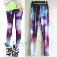 Women Aurora Space Galaxy Graphic Printed Leggings Pants Tights KhJ