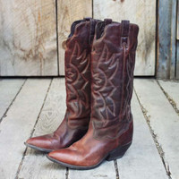 Vintage Chestnut Zodiac Boots, Sweet Vintage Cowboy Boots