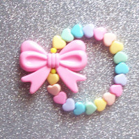 Pastel Rainbow Hearts and Bow Stretch Bracelet