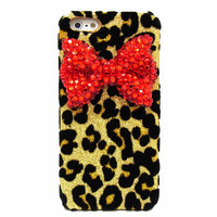 Bling Crystal Velvet Leopard Gold iphone 5 case, Red Bow iphone 5G case, Crystal iphone 5 case, Leopard iphone 5G case A1C