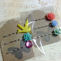 CLEARANCE - Gift Set - Bird Flower Jewel Hair Pin Set
