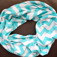 Tiffany Blue and White Chevron Jersey Knit Infinity