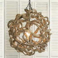 De Vine Wood Ball Chandelier - Shades of Light