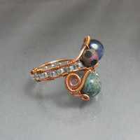Wire Wrap Bead Ring, Copper Beaded Ring, Boho Copper Ring, studiodct