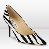 Jimmy Choo Zebra Print Pony Pointed Toe Pump
