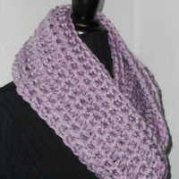 Light Purple Infinity Scarf Cowl Long Handmade Crochet Bulky Acrylic Yarn Lavendar, Lilac