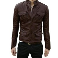 Allegra K Mens Fake Pockets Detail Solid Color Long Sleeve Faux Leather Jacket Chocolate Color XS