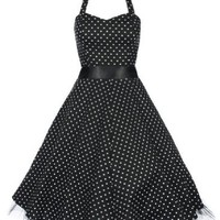 Lindy Bop 'Bonnie' Black Polka Dot Vintage 1950'S Rockabilly Pinup Halter Party Swing Dress