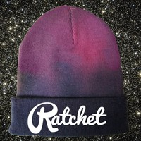 Black and Purple Beanie.