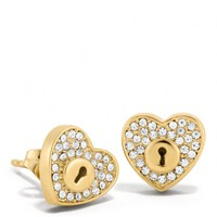 Coach :: New Pave Lock Heart Stud Earrings