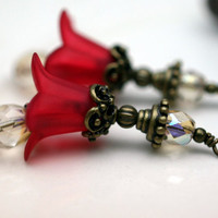 2 Piece Red Lucite Flower with Khaki Czech Crystals with Brass Bead Drop Dangle Set