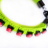 woven neon bracelet in lime green with neon pink crystal trim