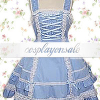 Cotton Blue Sleeveless Sweet Lolita Dress [T110794] - $73.00 : Cosplay, Cosplay Costumes, Lolita Dress, Sweet Lolita