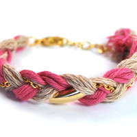 Organic cotton braid bracelet, pink and beige friendship bracelet