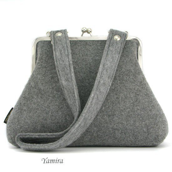 Yamira L classic felt grey frame bag by yamira on Etsy