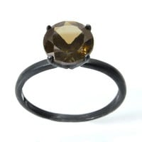 Silver Ring with Smoky Quartz, Quartz Tiffany Set Gemstone Ring in Sterling Silver