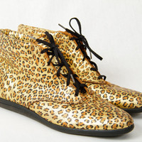 VTG 1980s Metallic Leopard Print Lace Up by KittyHeartsVintage