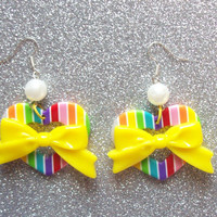 Kawaii Rainbow Heart Earrings