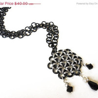 Chainmaille necklace, Gothic, Black and silver, Japanese Flower weave, Beaded - ON SALE