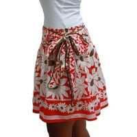 ON SALE Spring Fashion Skirt / Flower Mini Skirt in Coral and White with Sash Belt / Ready to Ship