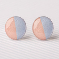 Half & Half Post Earrings in Light Peach and Powder Blue