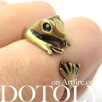 Miniature Lizard Gecko Animal Wrap Around Ring in Bronze Sizes 4 to 9