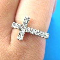 SALE - Adjustable Simple Cross Ring in Silver with Rhinestones