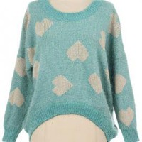 Happy Together Heart Print Knit Sweater in Sea Foam | Sincerely Sweet Boutique