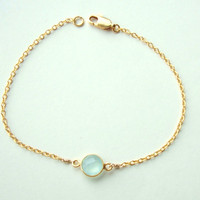 Gold Bezel Seafoam Chalcedony Gemstone Bracelet  Gold by cocolocca