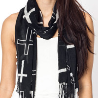 fringed-cross-print-scarf BLACKWHITE MINTWHITE PINKWHITE WHITEBLACK - GoJane.com