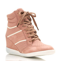 lace-up-wedge-sneakers BEIGE BLACK MINT PINK - GoJane.com