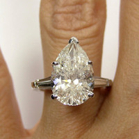 Stanning..Estate Vintage 5.01ct Classic PEAR Cut Diamond EGL USA Engagement Ring in Platinum with Baguettes, Circa 1960