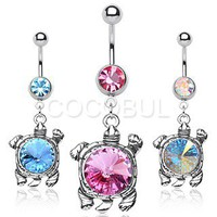 Single Gemmed Belly Button Rings with 10mm Gemmed Turtle Dangle