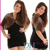 C.O.-959X-Black-Brown Slinky Animal Print Mini Cocktail Plus Size Dress