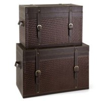One Kings Lane - Finishing Touches - S/2 Parliament Brown Trunks