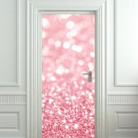 Door Wall STICKER poster bling glitter rose decole film valentines 30x79&amp;quot;