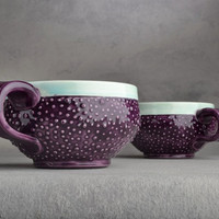 Dottie Mugs Pair of Royal Purple &amp; Pastel by symmetricalpottery
