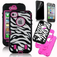Amazon.com: Pandamimi Rose Pink White Zebra Combo Hard Soft High Impact iPhone 4 4S Armor Case Skin Gel with free screen protector: Cell Phones & Accessories