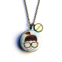 Nerdy Girl Glasses Locket Thinking Word Pendant Brass Setting Library Card Necklace One of a Kind