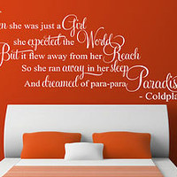 COLDPLAY PARADISE SHE WAS JUST A GIRL SONG LYRIC WALL ART STICKER DECAL QUOTE