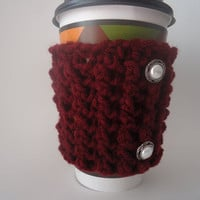 Burgundy Crochet Coffee Cup Sleeve to Keep Your Hands from Burning