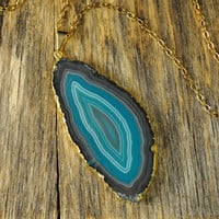 Teal Sliced Agate Gold Necklace, Teal Geode Pendant