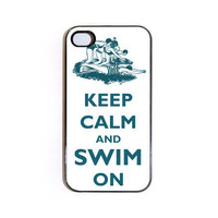 Keep Calm And Swim On iPhone 4 case