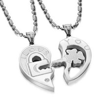 "Valentine Couple's ""Love You"" Lock and Key Pendant Necklaces Titanium Stainless Steel (One Pair): Jewelry: Amazon.com"