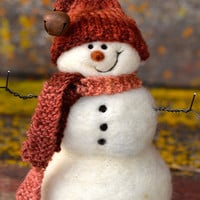 Snowman - Wool Needle Felted Snowmen - winter decor - 189