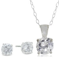 Sterling Silver Cubic Zirconia Solitaire Earrings and Pendant Set, 18