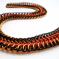 Chainmail Necklace Flame Choker by SerenityInChains on Etsy