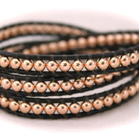 50% OFF..Rose Gold Fill Triple Leather Wrap Bracelet on Premium Greek Leather