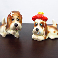 Vintage Salt & Pepper Shakers Sad Sick Hound Dogs by ItchforKitsch