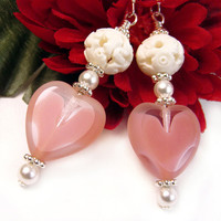 Pink Heart Earrings, Czech Glass, White Pearls, Ornate Carved Beads